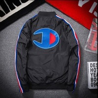 AUGUAU Champion zipper baseball bomber jacket