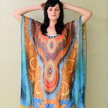 Dreamcatcher kaftan dress embellished caftan kaftan maxi dress boho beach dress