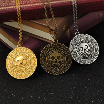 Retro Chic Pirates of the Caribbean Aztec Skull Pendant Necklace Vintage Necklaces Gift3 Colors jewelry SM6