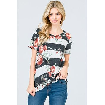 The Olivia Striped Floral Top