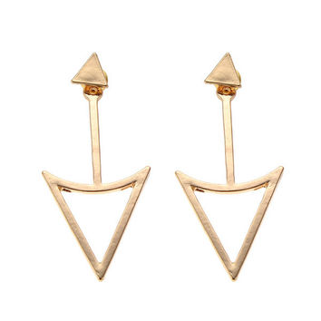 Gold Silver Hollow Out Metal Triangle Stud Earrings Women Jewelry