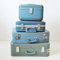 Travel Joy Train Case - Turquoise Blue Mid Century Luggage
