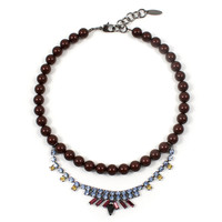 Rebel Romance Mini Crystal Necklace w/ Pearls - Multicolored / Maroon Pearls