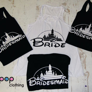 Bridal set of  Tanks. wedding Gift . Bridesmaid tank. Bachelorette party. Disney. Maid of Honor. Mother of the Bride. Mother of the Groom.