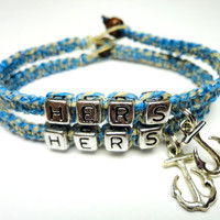 Hers and Hers Couples Bracelet Set, Jewelry for Her, Blue and Beige Hemp with Anchor Charms