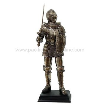 Medieval French Knight with Fleur-de-Lis Shield Statue - 8563