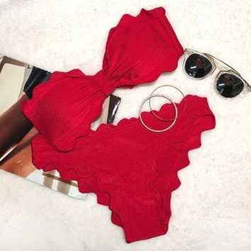 CREYON Day First Red Lingering Kiss Waves Bikini Set