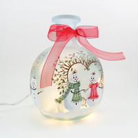 Snowman Lighted Bottle Frosted Hand Painted