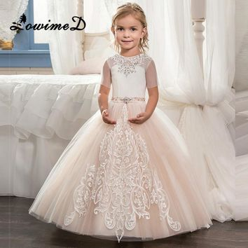 2017 Flower Girl Dresses For Weddings Champagne Lace Beading Sash Baby Kids Pageant Gowns Holy Communion Dresses For Girls Make