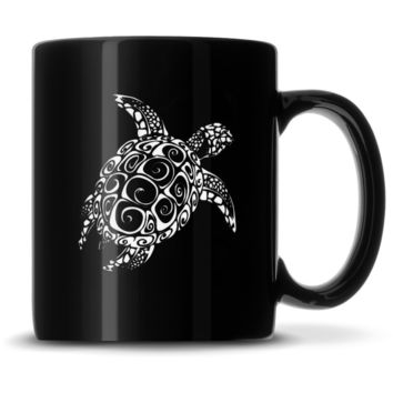 Black Coffee Mug with Tribal Sea Turtle, Deep Etched