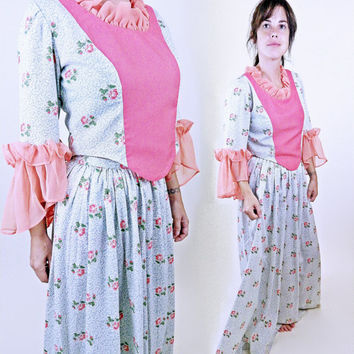 Vintage 70s Prairie Outfit // Long Sleeve Ruffle Top and Skirt // Zips and Velcro // Fits Most