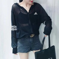 """Adidas"" Women Sport Casual Thin Stripe Long Sleeve Zip Cardigan Knitwear Sun Protection Clothing Hooded Coat"