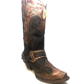 Corral Women's Vintage Chocolate Brown Studded Cowboy Boots