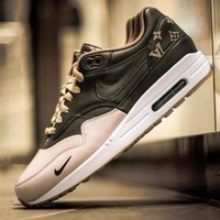 Best Online Sale LV x Supreme Nike Air Max 1 Custom Gold Brown Men Women Fashion Shoes Sneaker Casual Shoes