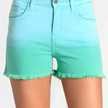 Secluded Lagoon Ombre Shorts - $39.00 : ThreadSence, Women's Indie & Bohemian Clothing, Dresses, & Accessories