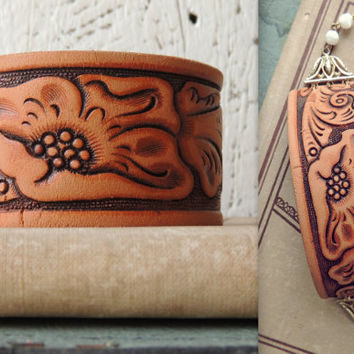 Tooled Leather Cuff Bracelet/Distressed Leather Bracelet/Chunky Boho Bracelet/Indie Bracelet/Rustic Leather Jewelry/Cowgirl /Western Cuff