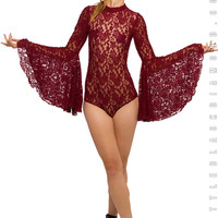 Stevie Bodysuit in Burgundy Lace