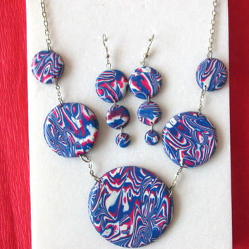 polymer clay jewelry set,christmas gift for mother,gift for wife,statement necklace,polymer clay earrings,unique jewelry gifts,colorful