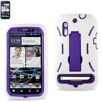 Combo Silicone Hybrid Hard Case with Kickstand for U.S. Cellular/Sprint Motorola Photon 4G/Electrify