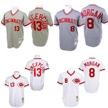 Grey Throwback #8 Joe Morgan #13 Dave Concepcion Authentic Jersey , Men's Mitchell And Ness Cincinnati Reds