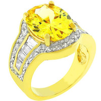 Yellow Cubic Zirconia Cocktail Ring, size : 05