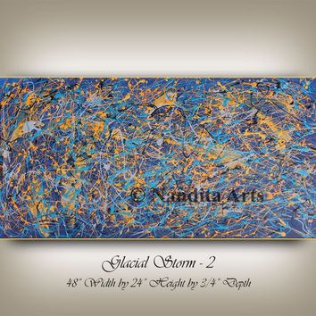 Jackson Pollock Style Blue and Gold, String Art, Home Decor, Abstract Art on Canvas, Original Painting on Canvas, Abstract Painting Nandita