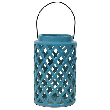 Cylindrical Shaped Ceramic Lantern Crafted W/ Open Crisscross Design In Turquoise