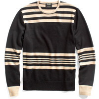 BLACK STRIPE CREW SWEATER