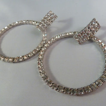 Vintage Rhinestone Deco Hoop Earrings 1980s Bling Costume Jewelry