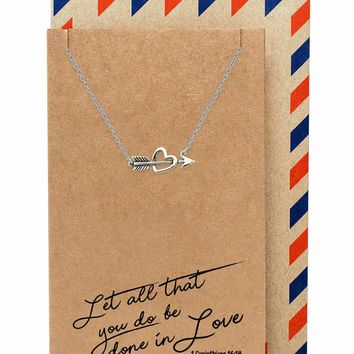 Amy Heart and Arrow Necklace for Women, Valentine's Day Gifts, comes with Inspirational Bible Verse