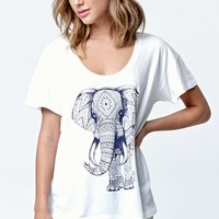 Riot Society Ornate Elephant 3.0 Boyfriend T-Shirt - Womens Tee - White