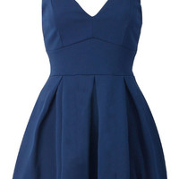 CAMI SKATER DRESS WITH MESH PANEL NAVY
