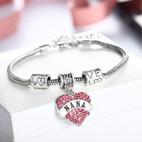 Women Fashion Jewelry Love Heart Crystal Rhinestone Pendant Necklace Chain Nana Silver Lobster Claw Bracelet [8081688903]