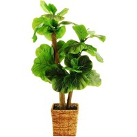 """38"""" Artificial Mini Fiddle-Leaf Fig Tree in a Square Basket with Faux Dirt - Walmart.com"""