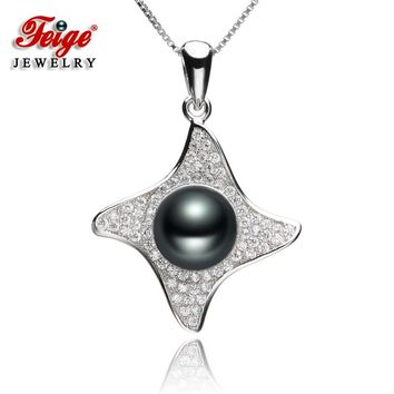 Luxury Black Pearl Pendant Necklaces for Lady Party Jewelry Freshwater Pearl Gifts 925 Sterling Silver Chain Dropshipping FEIGE