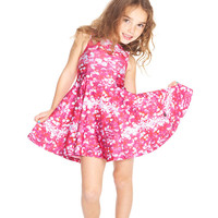 Kids Pink Sequins Skater Dress