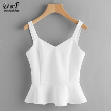 Dotfashion Princess Seam Lace Up Back Peplum Bustier Top 2018 New Summer White V Neck Slim Fit Woman Top Ruffle Plain Tank
