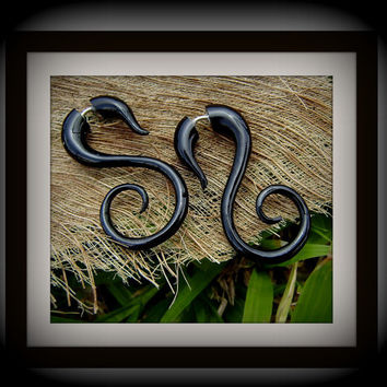 fake gauge earrings Organic  X Small Sprial Black by ANELAJADE