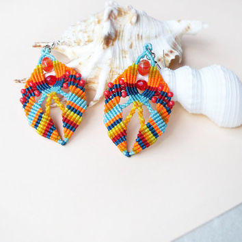 Ethnic micro macrame earrings - Orange Red Blue Teal Shell-shaped Summer Bright Unique