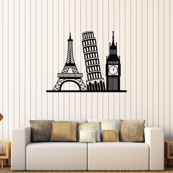 Vinyl Wall Decal Eurotrip Europe Travel Attractions Stickers (560ig)