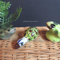 Vintage Mexican Pottery Figurines, Tonala Ceramic Goose / Duck and Frogs