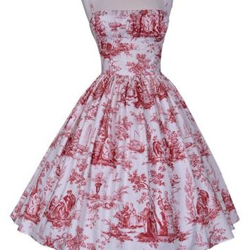 Bernie Dexter Paris Dress in Romantic Red Toil classic shelf bust swing dress
