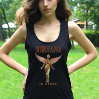 NIRVANA Tank Top In Utero Alternative Rock Grunge Rock TShirt Tank Top Women Sleeveless Shirts Lady Fit Vest Crop Top T Shirt