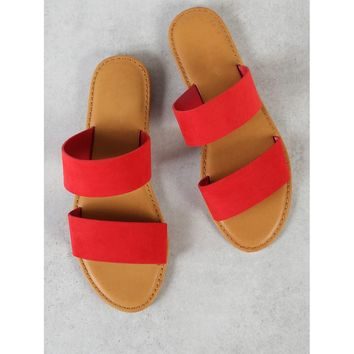 Faux Suede Double Band Slide Sandal RED