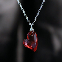 Valentines day Heart Pendant with Chain, Silver chain, Devoted to you red heart pendant, heart jewelry