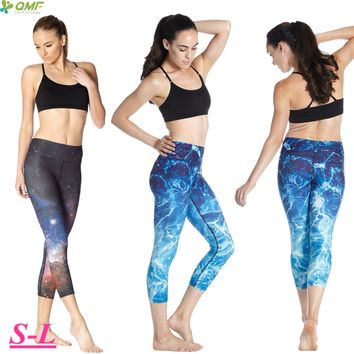 Blue Water Ripple Exercise Workout Running Crop Leggings Harajuku Space Galaxy Athletic Capris Elastic High Waist Tights Femme