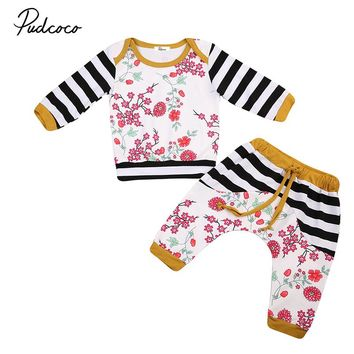 0-24M Cute Newborn Baby Clothes Long Sleeve Floral T-shirt Tops+Pant Trouser 2PCS Outfits Toddler Kids Clothing Set