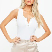 Missguided - White Button Front Ribbed Bodysuit