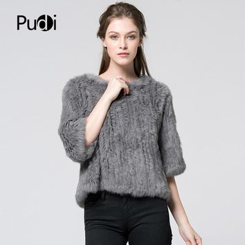 CR004 New hot sale women real rabbit fur knitted coat jacket vests wraps smock overall 11 colors black beige