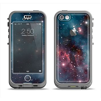 The Bright Pink Nebula Space Apple iPhone 5c LifeProof Nuud Case Skin Set